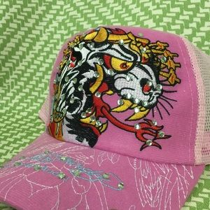 ea4f3115783 Ed Hardy Accessories - NWT Pink Ed Hardy Hat blinged out